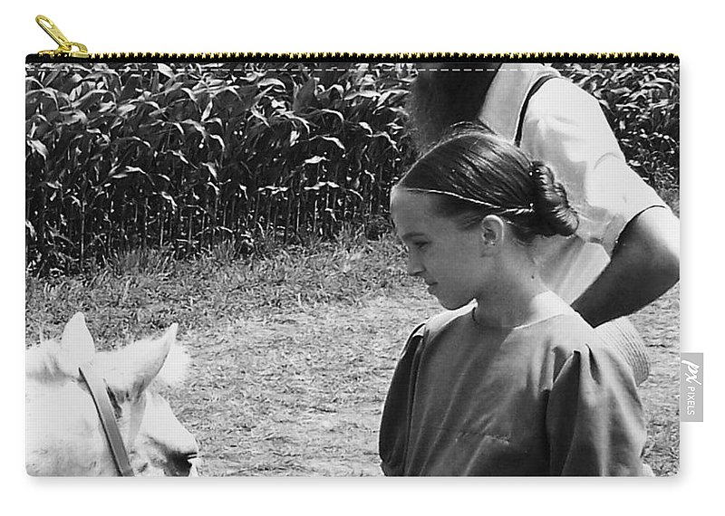 Amish Carry-all Pouch featuring the photograph Amish Girl And Pony by Eric Schiabor