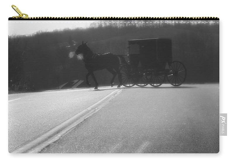Amish Horse And Buggy In Winter Carry-all Pouch featuring the photograph Amish Horse And Buggy In Winter by Dan Sproul
