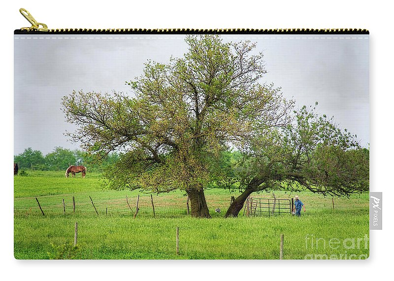Farm Carry-all Pouch featuring the photograph Amish Man And Tree by David Arment