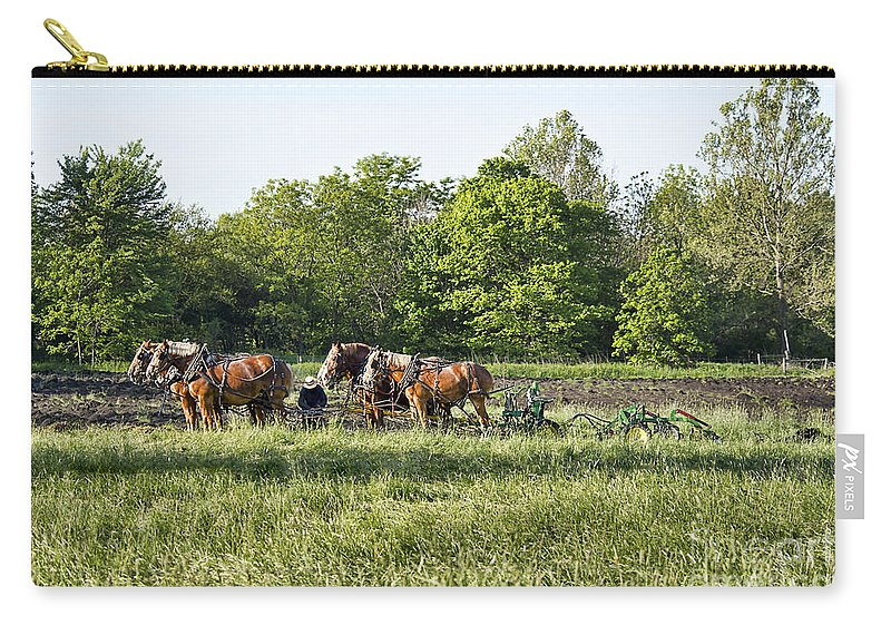 Amish Carry-all Pouch featuring the photograph Amish Man Plowing by David Arment