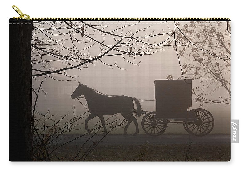 Amish Buggy Carry-all Pouch featuring the photograph Amish Morning 1 by David Arment