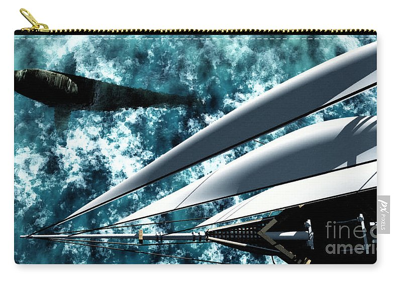 Ocean Carry-all Pouch featuring the digital art Among Giants by Richard Rizzo