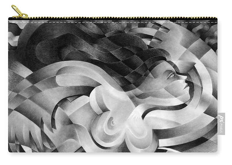 Art Carry-all Pouch featuring the drawing Amore by Myron Belfast