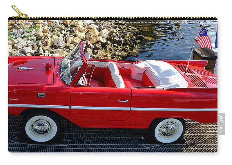 Amphicar Carry-all Pouch featuring the photograph Amphicar Red by David Lee Thompson