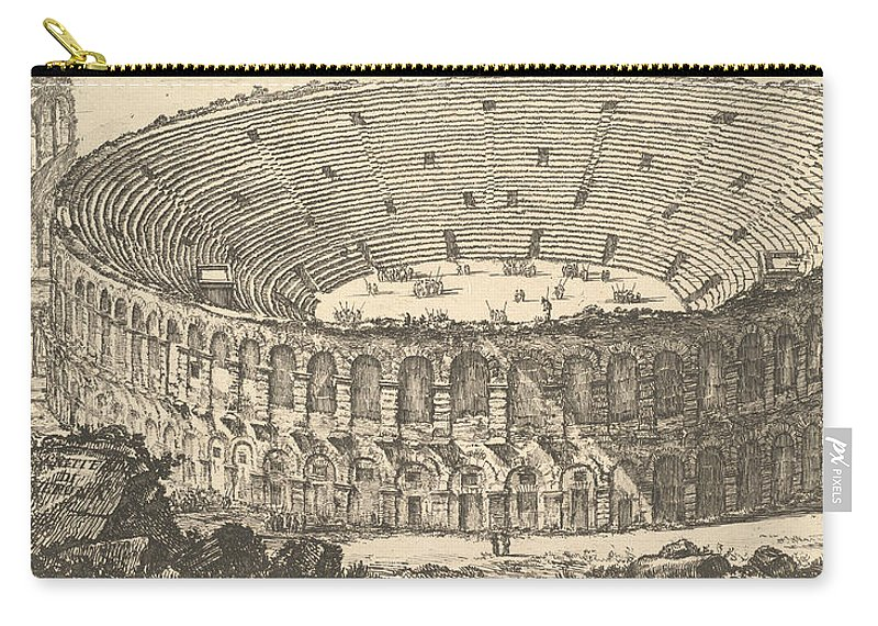 18th Century Art Carry-all Pouch featuring the relief Amphitheater Of Verona by Giovanni Battista Piranesi