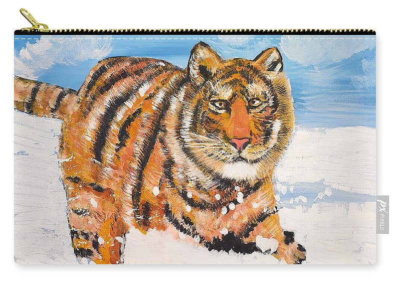 Cat Carry-all Pouch featuring the painting Amur Tiger by Valerie Ornstein