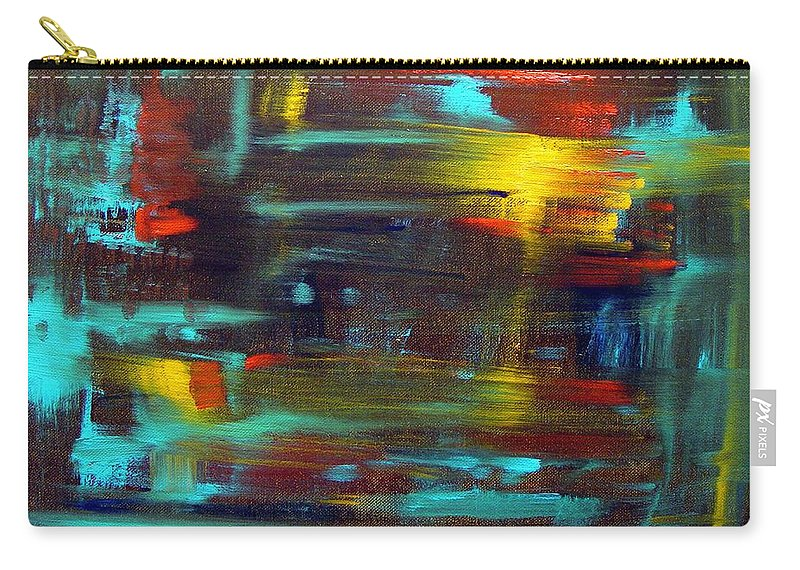 Red Blue Yellow Gold Brown Cad Orange Eyes Obama Oscar  Face Thought Emotions Carry-all Pouch featuring the painting An Abstract Thought by Jack Diamond
