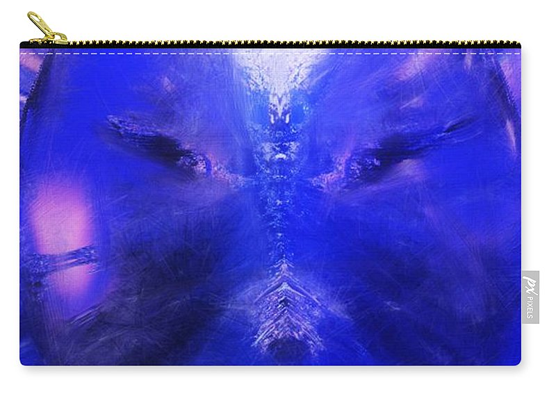 Digital Painting Carry-all Pouch featuring the digital art An Alien Visage by David Lane