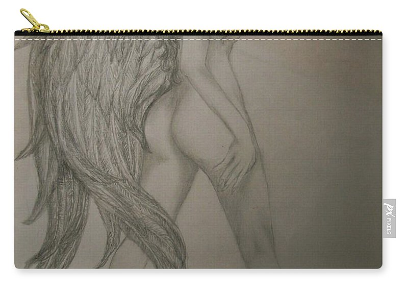 Angel Carry-all Pouch featuring the drawing An Angel by Glory Fraulein Wolfe