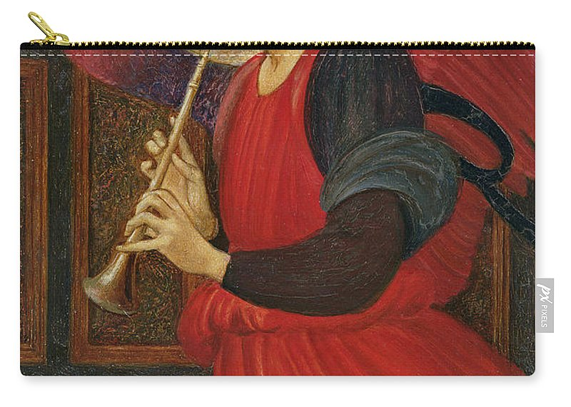 An Angel Playing A Flageolet (oil On Paper) Carry-all Pouch featuring the painting An Angel Playing a Flageolet by Sir Edward Burne-Jones