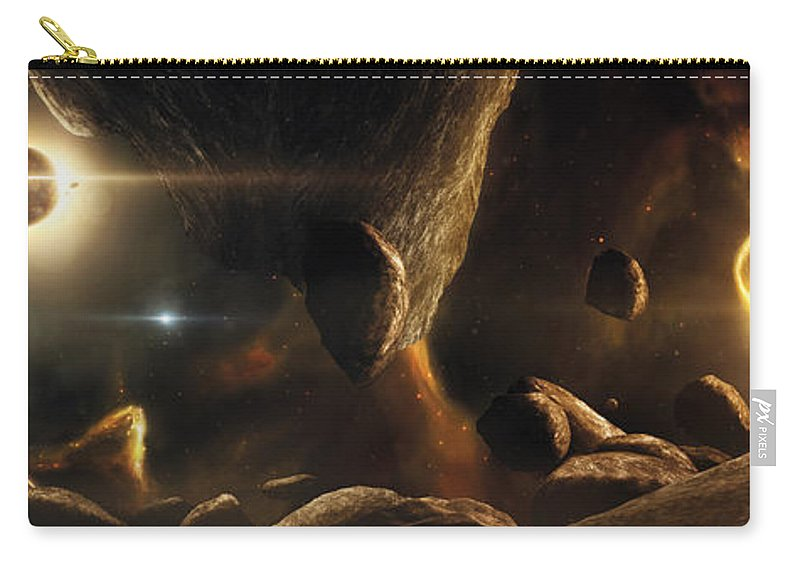 Horizontal Carry-all Pouch featuring the digital art An Asteroid Field Next To An Earth-like by Tobias Roetsch