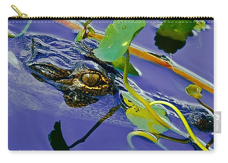 Alligator Carry-all Pouch featuring the digital art An Eye For The Camera by DigiArt Diaries by Vicky B Fuller