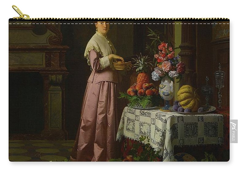 David Emil Joseph De Noter And Petrus Renier Hubertus Knarren Belgian Carry-all Pouch featuring the painting An Interior With Fruit And Flowers by MotionAge Designs