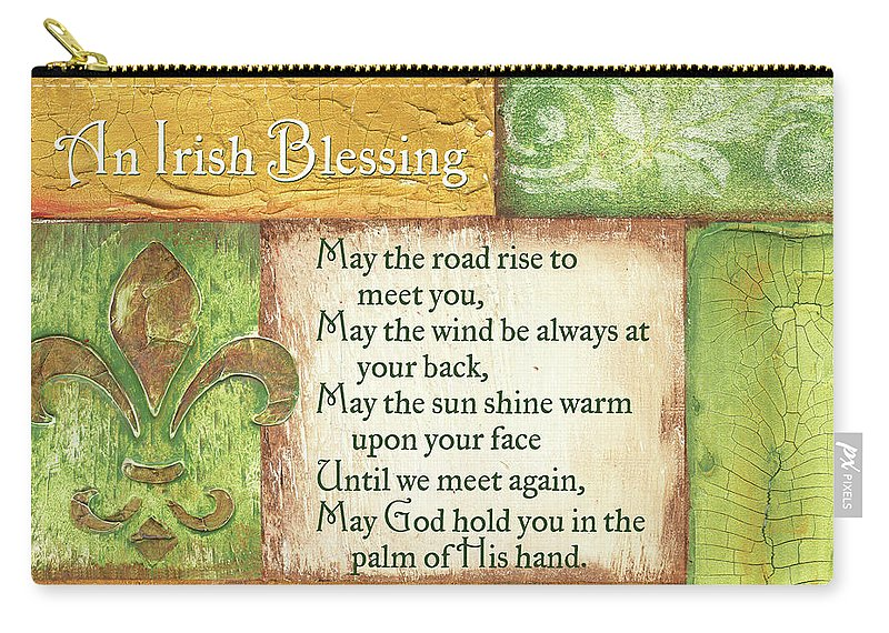 Irish Carry-all Pouch featuring the painting An Irish Blessing by Debbie DeWitt