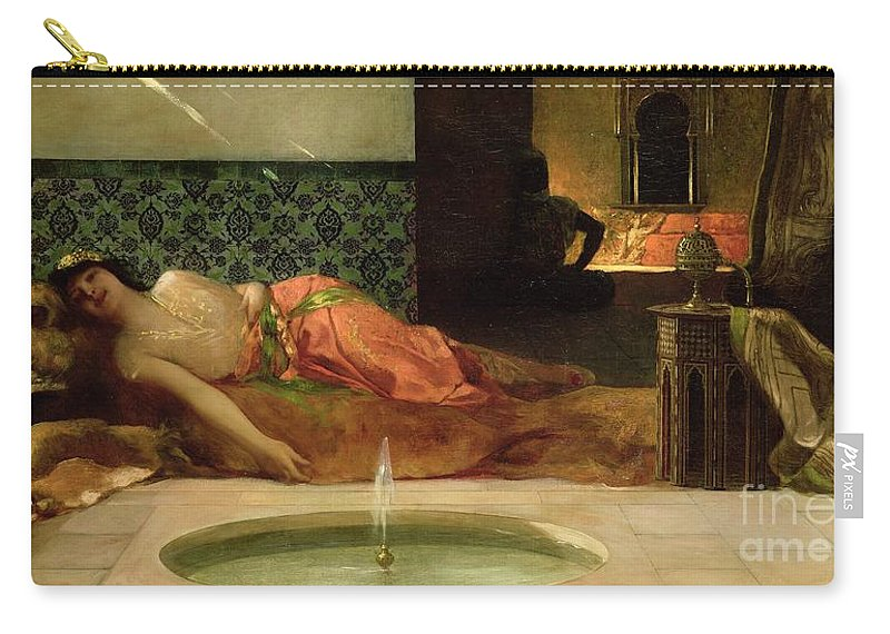 Odalisque Carry-all Pouch featuring the painting An Odalisque In A Harem by Benjamin Constant