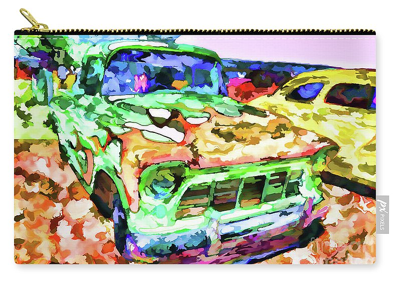 American Classic Car Carry-all Pouch featuring the painting An Old Pickup Truck 1 by Jeelan Clark