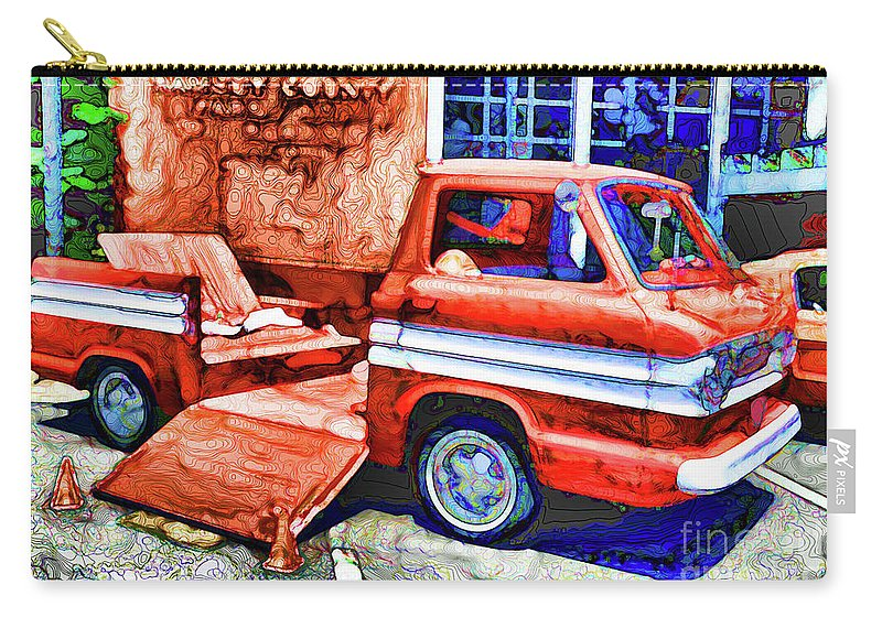American Classic Car Carry-all Pouch featuring the painting An Old Pickup Truck 2 by Jeelan Clark