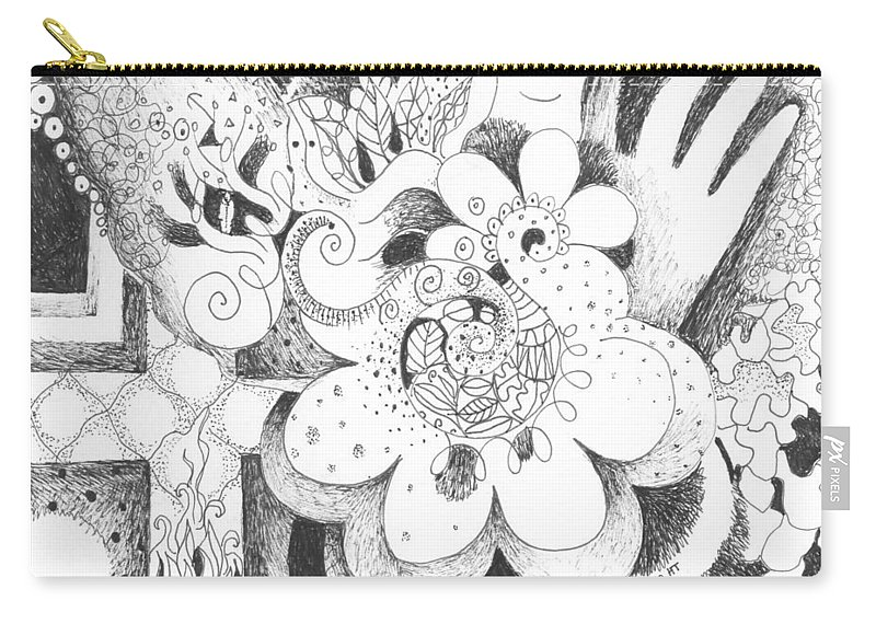 Challenge Carry-all Pouch featuring the drawing An Ordeal by Helena Tiainen