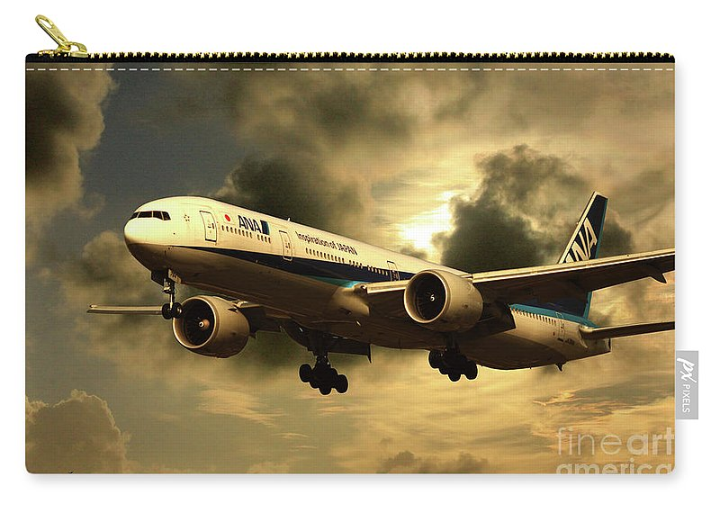 Boeing 773 Carry-all Pouch featuring the digital art Ana Boeing 773 Ja784a by J Biggadike