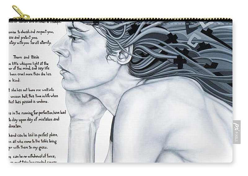 Poetry Carry-all Pouch featuring the painting Anatomy Of Pain by Judy Henninger