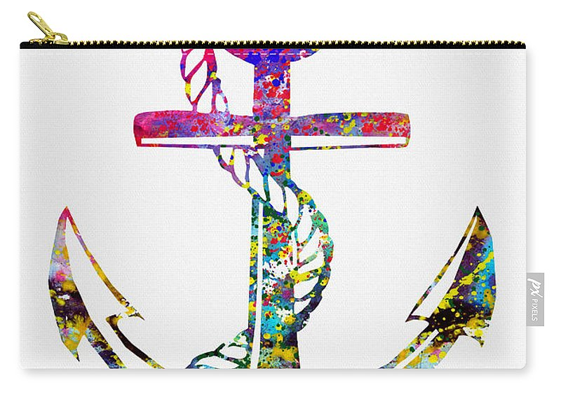 Anchor Carry-all Pouch featuring the digital art Anchor-colorful by Erzebet S