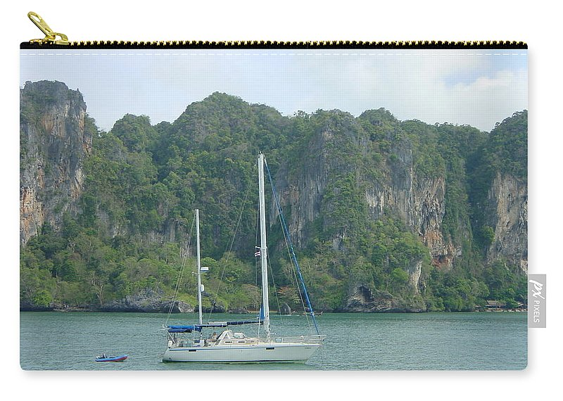 Sail Boat Carry-all Pouch featuring the photograph Anchored In Paradise by D Turner