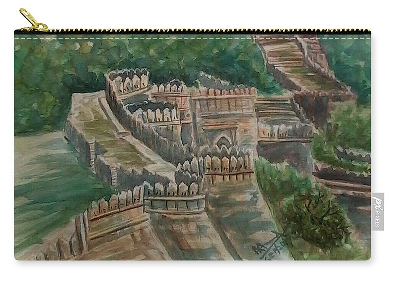 Fort Carry-all Pouch featuring the painting Ancient Fort by Ajay Anand