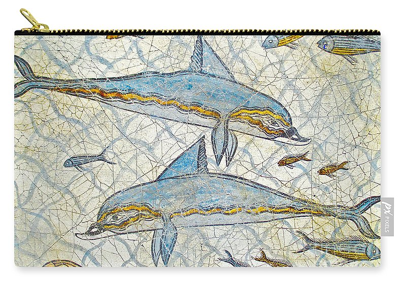 Greek Carry-all Pouch featuring the photograph Ancient Greek Dolphins by Jerome Stumphauzer