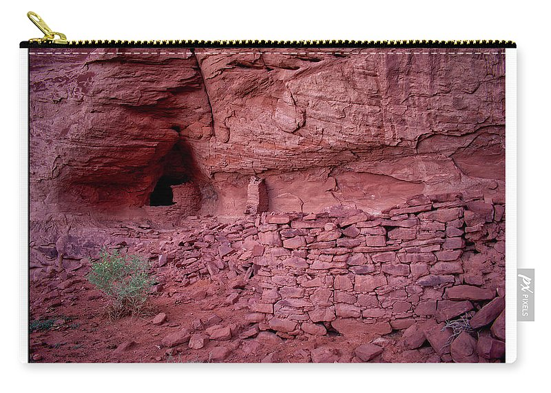 Mystery Valley Carry-all Pouch featuring the photograph Ancient Ruins Mystery Valley Colorado Plateau Arizona 02 Text by Thomas Woolworth