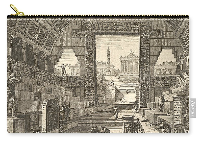 18th Century Art Carry-all Pouch featuring the relief Ancient School Built According To The Egyptian And Greek Manners by Giovanni Battista Piranesi