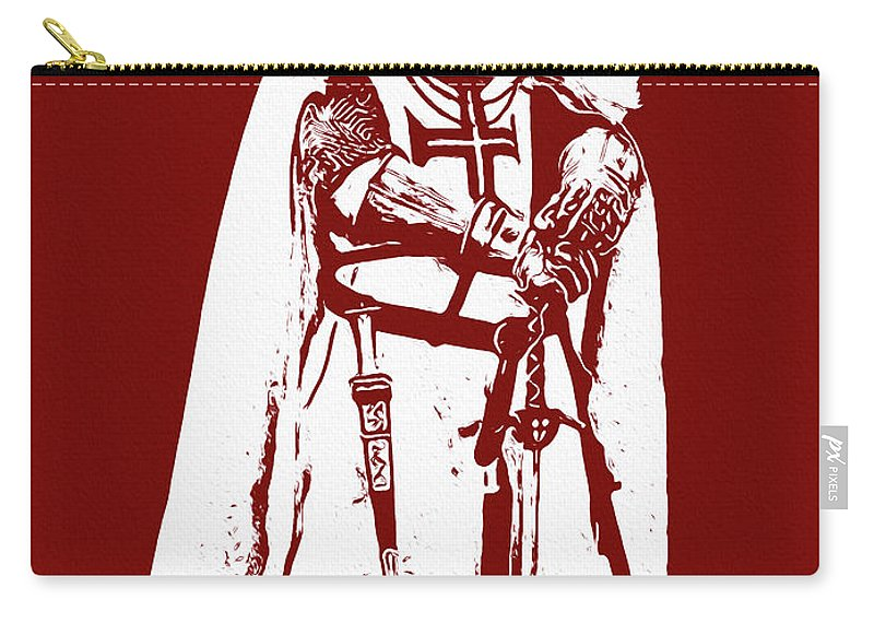 Templar Sergeant Carry-all Pouch featuring the painting Ancient Templar Knight - 03 by Andrea Mazzocchetti