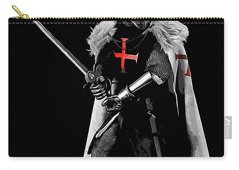 Templar Sergeant Carry-all Pouch featuring the painting Ancient Templar Knight - 05 by Andrea Mazzocchetti