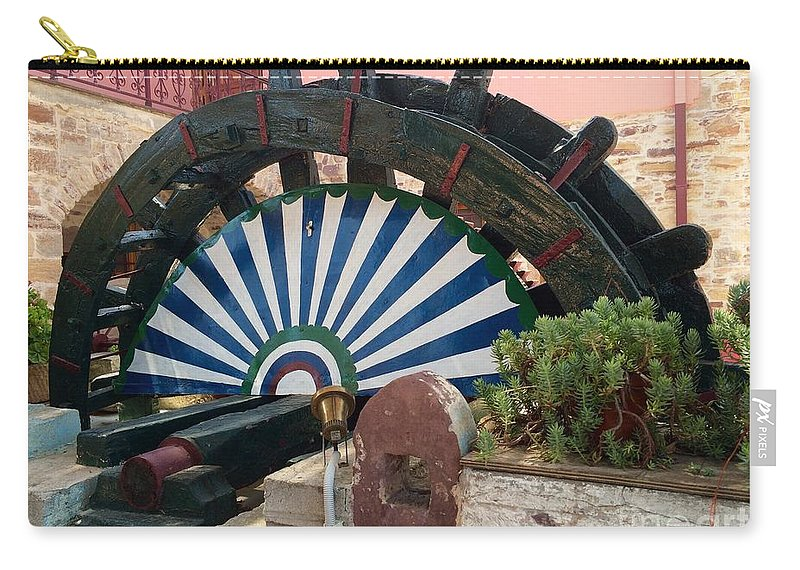 Ancient Water Mill Carry-all Pouch featuring the digital art Ancient Water Mill Greece by Viktoriya Sirris