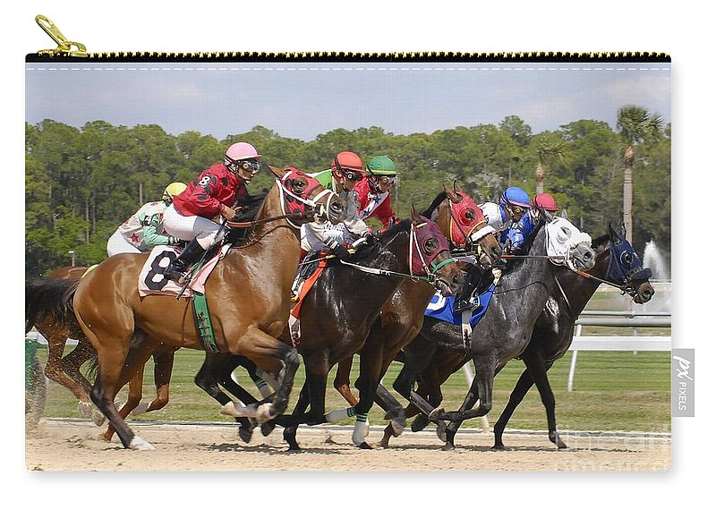 Horse Racing Carry-all Pouch featuring the photograph And Their Off by David Lee Thompson