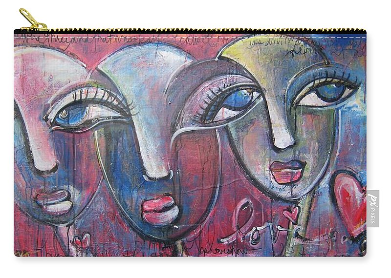 Hearts Carry-all Pouch featuring the painting And Then There Were Three by Laurie Maves ART