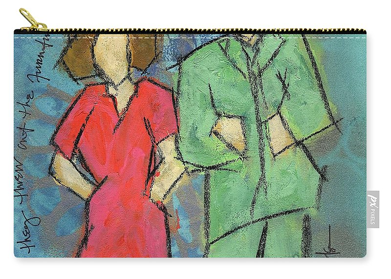 Couple Carry-all Pouch featuring the painting And They Threw Out The Furniture by Hew Wilson