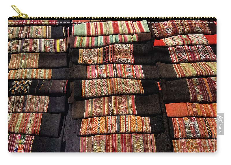 Bolivia Carry-all Pouch featuring the photograph Andean Textile Market by James Brunker