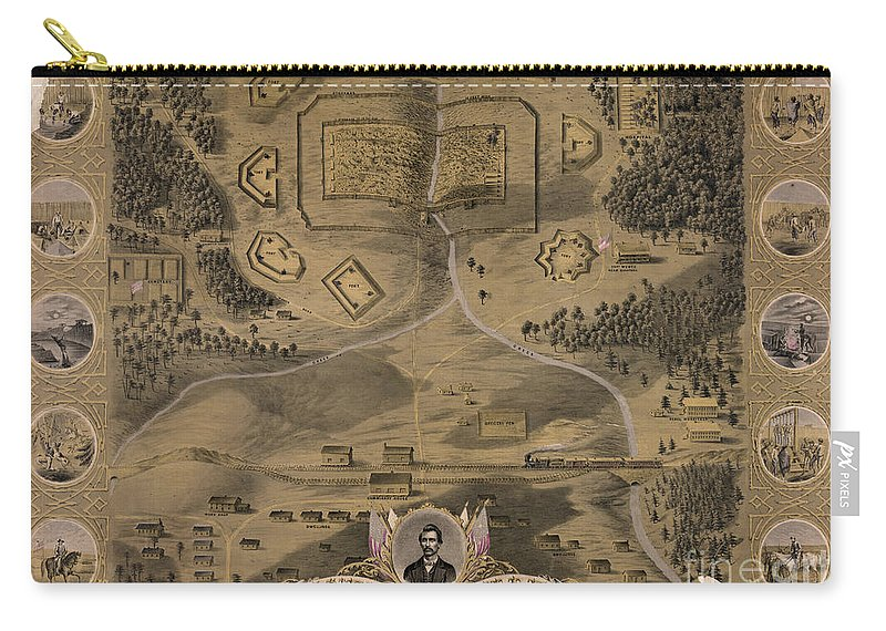 1864 Carry-all Pouch featuring the photograph Andersonville Prison by Granger
