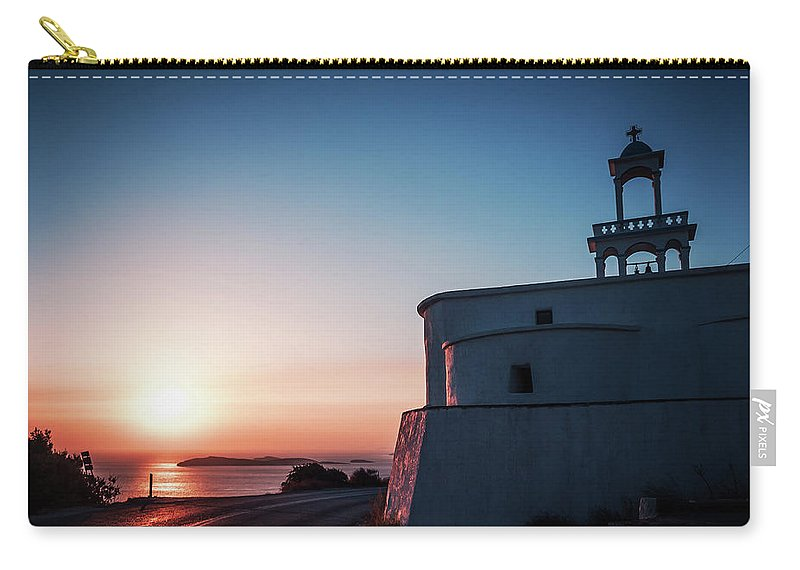 Andros Carry-all Pouch featuring the photograph Andros Island Sunset - Greece by Alexander Voss