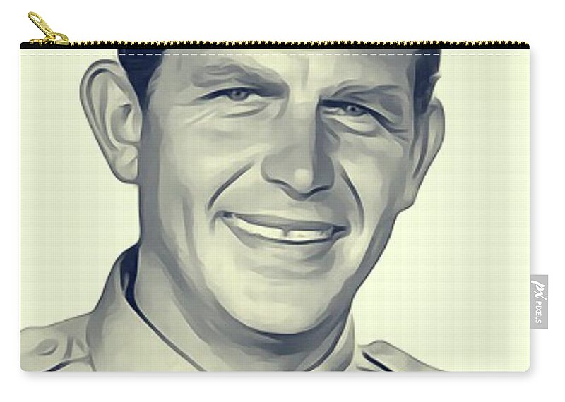 Andy Carry-all Pouch featuring the digital art Andy Griffith, Vintage Actor by John Springfield