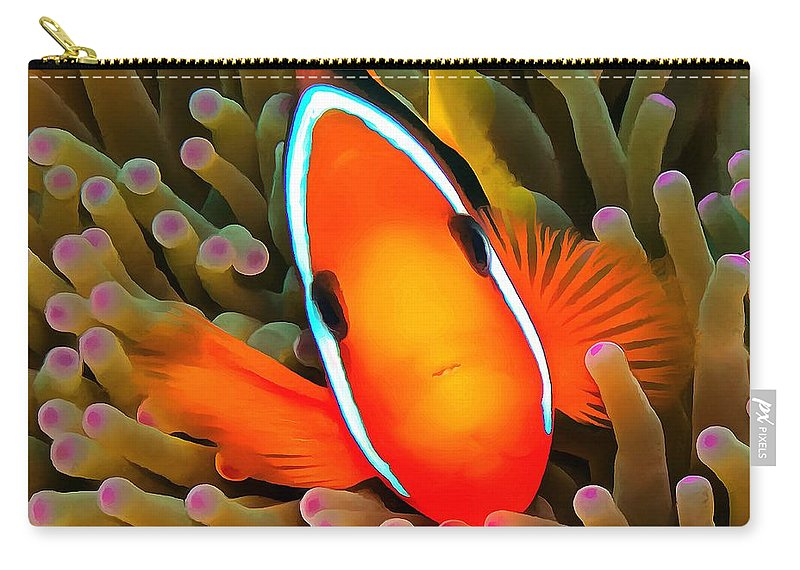 Anemone Fish Carry-all Pouch featuring the photograph Anemone Fish by Sergey Lukashin