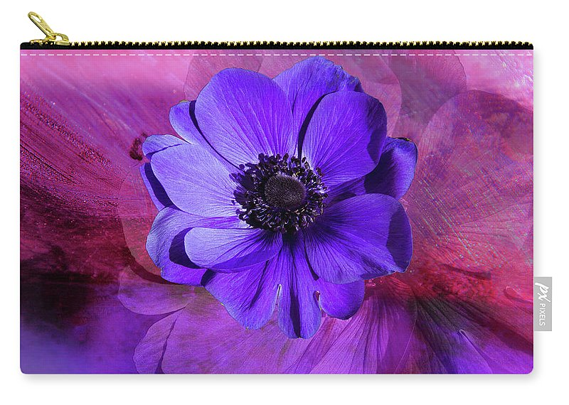 Anemone Carry-all Pouch featuring the digital art Anemone In Purple by Terry Davis