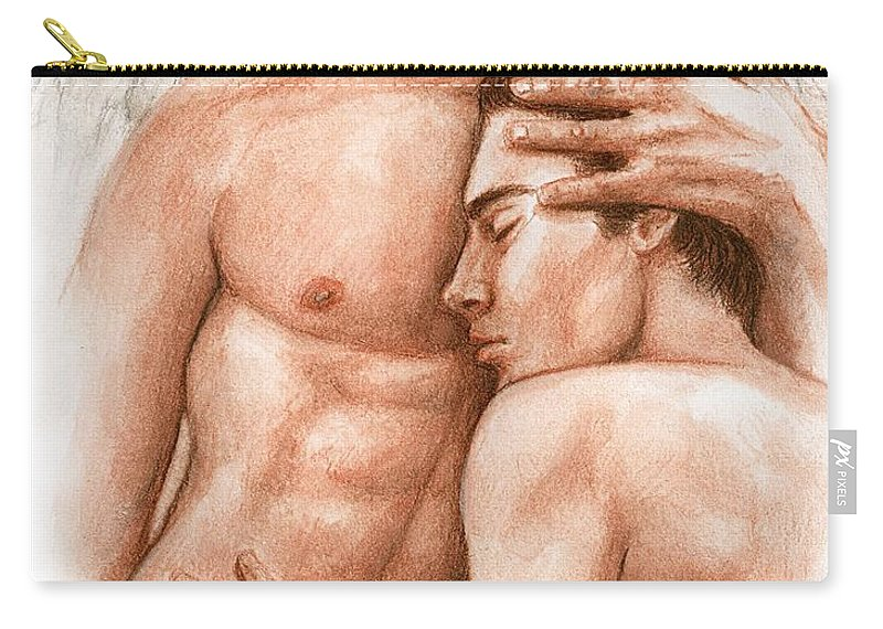 Male Angel Bruce Lennon Art Carry-all Pouch featuring the painting Angel Embrace by Bruce Lennon