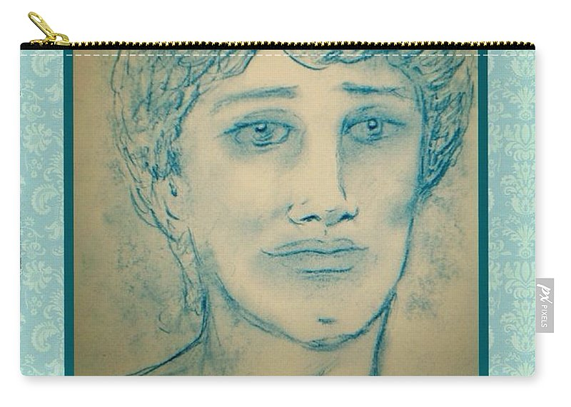 Angel Cards Carry-all Pouch featuring the drawing Angel Greetings by Joan-Violet Stretch