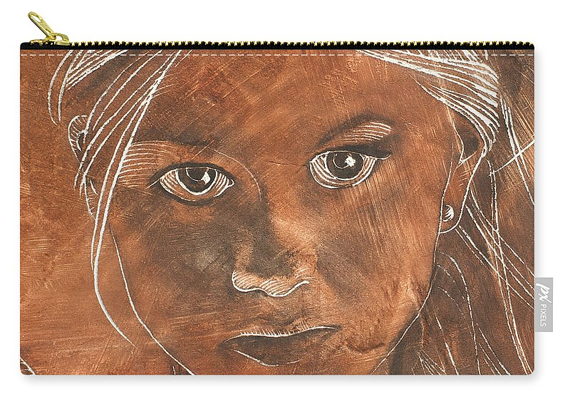 Nude Carry-all Pouch featuring the painting Angel In Process Head Detail by Richard Hoedl