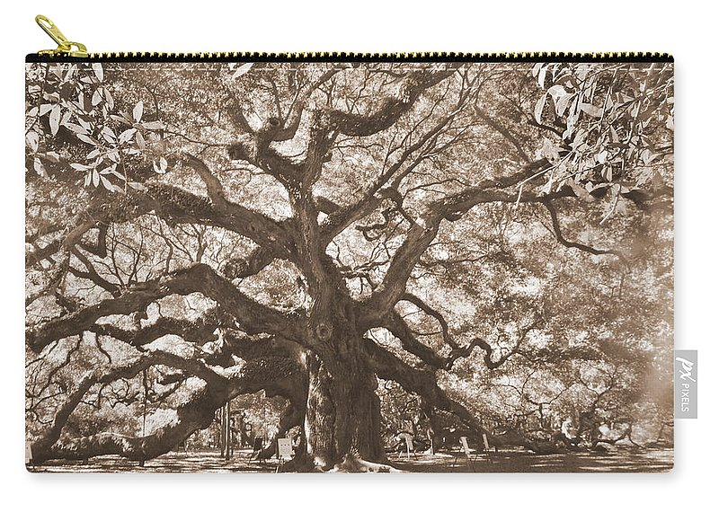 Angel Oak Carry-all Pouch featuring the photograph Angel Oak Sepia by Lisa Wooten