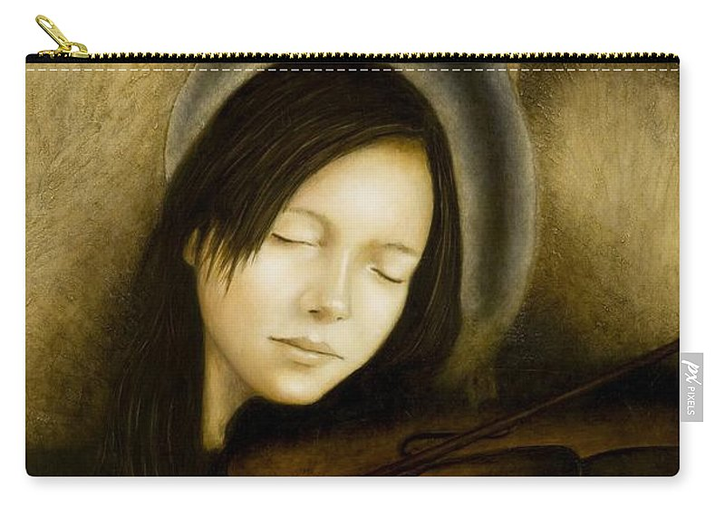 Angel Of Music Carry-all Pouch featuring the painting Angel Of Music by Nanne Nyander