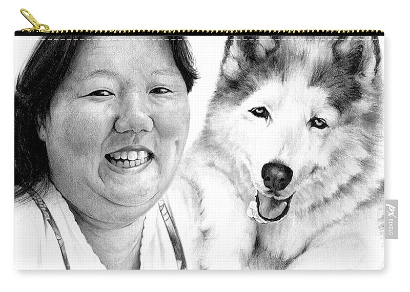 Portrait Carry-all Pouch featuring the drawing Angel On My Shoulder by Rachel Christine Nowicki