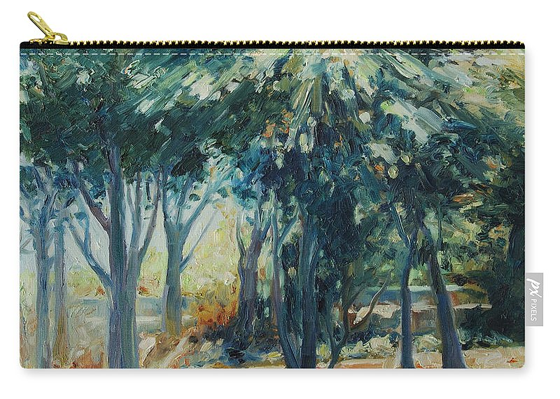 Trees Carry-all Pouch featuring the painting Angel Rays by Rick Nederlof