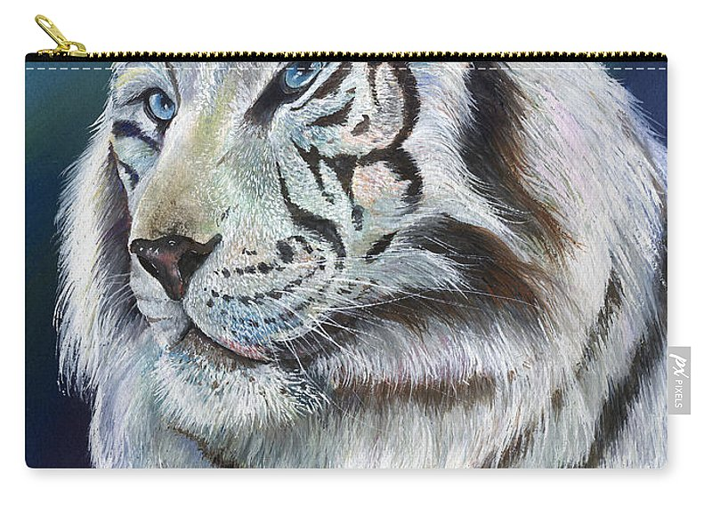 Big Cat Carry-all Pouch featuring the painting Angel The White Tiger by Sherry Shipley